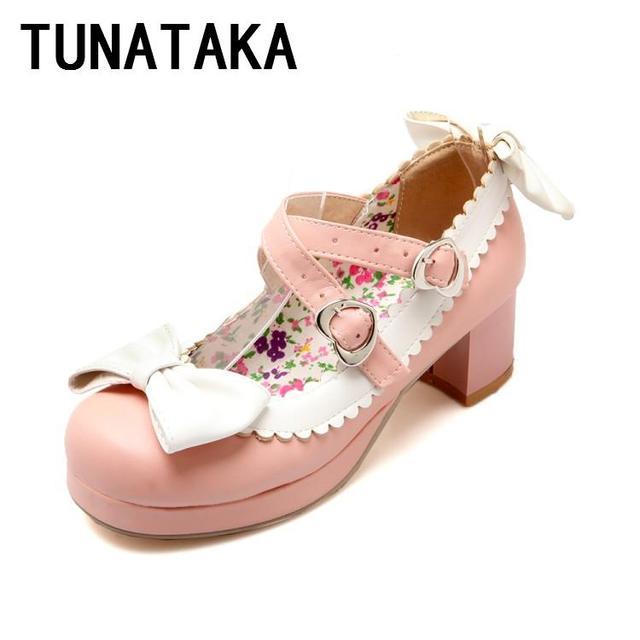 Лолита принцесса сладкий каблук туфли круглым носком туфли на платформе девушки с ...