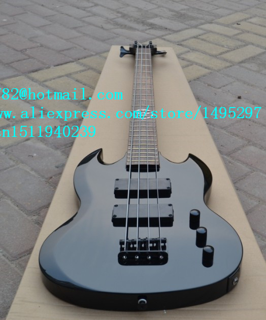 free shipping new electric bass guitar in black with mahogany body and ebony fingerboard made in China +foam box F-1582(China (Mainland))