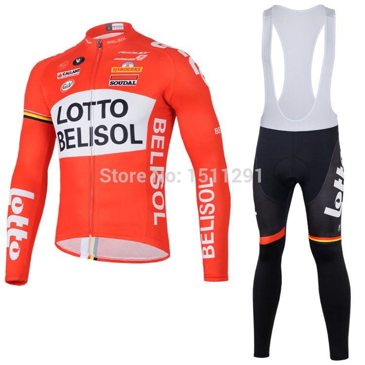 New Men Cycling Jersey Lotto team sets sport clothes long sleeve+bib pant trousers suits bike outdoor Clothing S-3XL(China (Mainland))