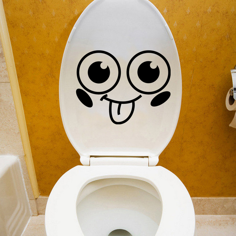 Smiley Face Toilet Sticker Wall 3D Mural Art Bathroom WC Stickers On The Toilet Decorative Vinyl Wall Decals Adesivos De Paredes(China (Mainland))