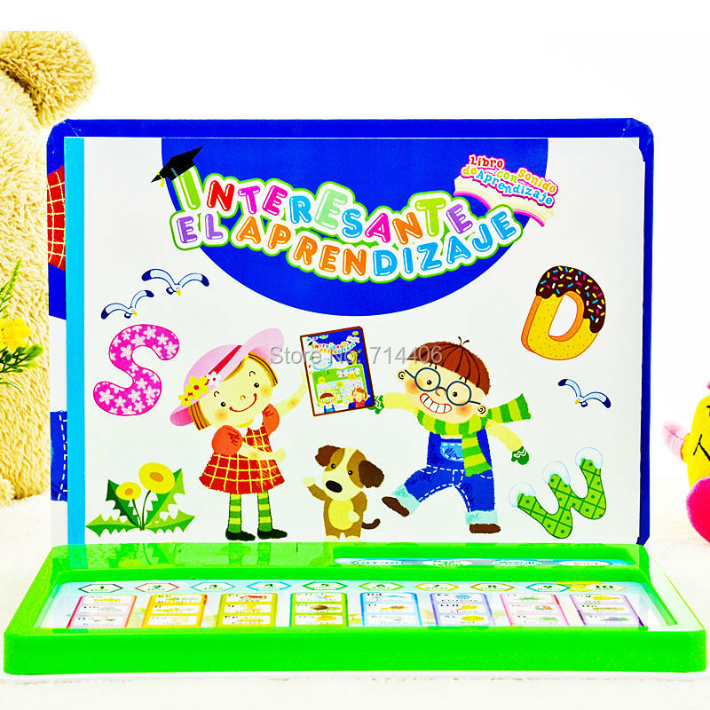 Spanish language ABC teaching toy learning machine,educational plastic book,letters chart learning machine for baby(China (Mainland))