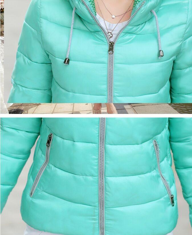 Скидки на Размер L ~ 3XL Плюс Размер Мода Желтый Женщины Зимнее Пальто Хлопка тонкий Капюшоном Теплый Шеи Молнии Пальто 7 Цвета Фиолетовый Карманы парки