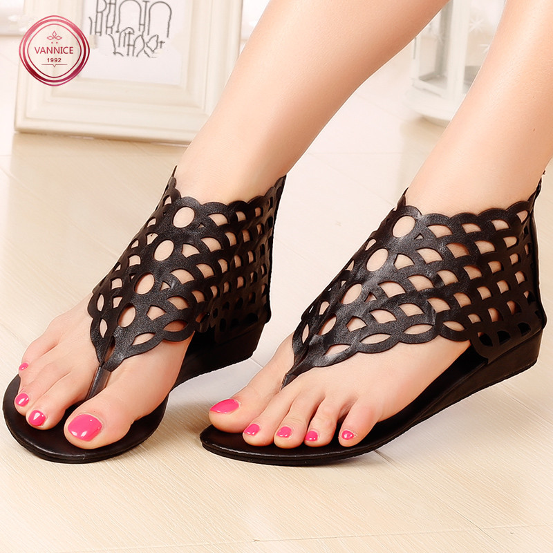 2016 New Listing Gladiator Sandals Women Summer Shoes Hollow Design Wedges Flip Flops Women Beach Slippers Sexy Sandals 35-40.<br><br>Aliexpress