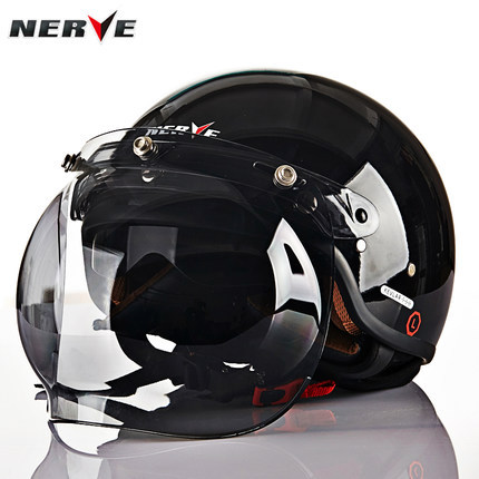 Free Shipping GERMANY NERVE Dual Lens Motorcycle Helmet Carbon Fiber Half Harley Helmet Racing Helmet Removable(China (Mainland))