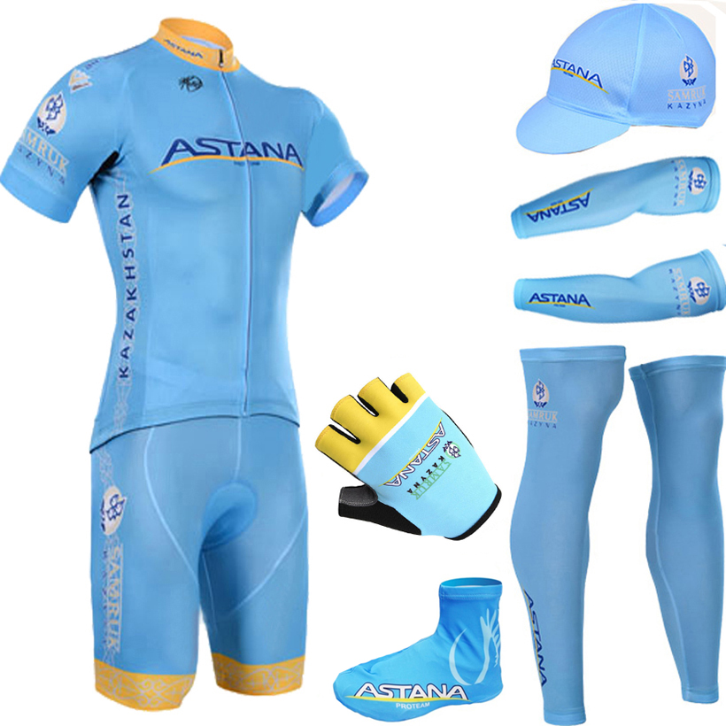 Фотография 2015 BLUE ASTANA Team cycling jersey quick dry breathable cycling shirts bike shorts set gel pad cycle Maillot Culotte full set