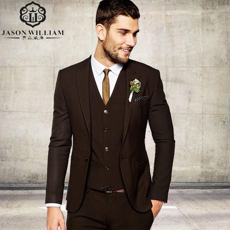 LN006 Custom Men's Business Suit Groom Tuxedos Dark Brown Men Suits Wedding Best Man Blazerv ( jacket+Pants+vest)(China (Mainland))