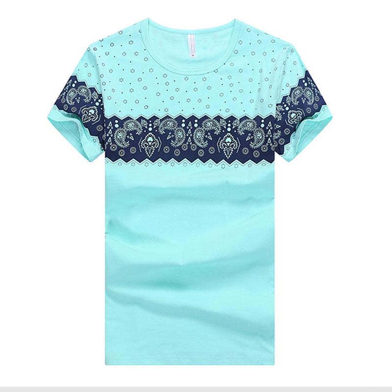 Hot 2015 fashion summer blue white lake blue men's short-sleeved t-shirt national wind printing 3Color size:M-2XL men shirt #453(China (Mainland))