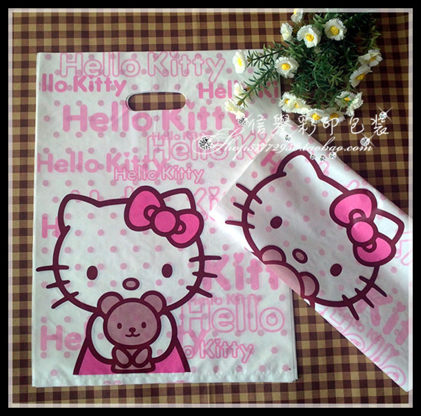 100pcs/lot Plastic bags wholesale hello Kitty bag,plastic gift packaging bags 28x38cm free shipping(China (Mainland))