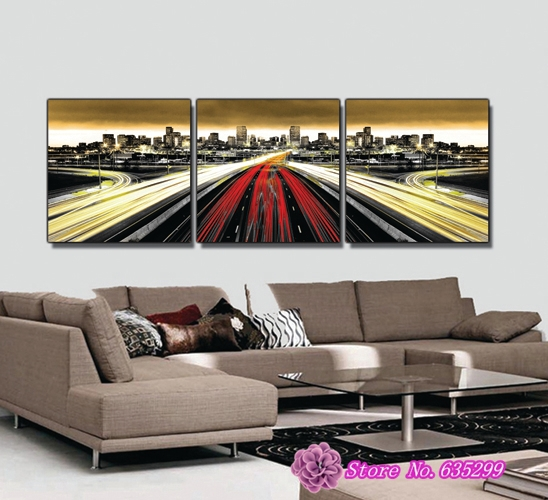 3 pieces canvas wall art picture painting decoration home canvas Prints New York great scenery USA vehicle busy(China (Mainland))