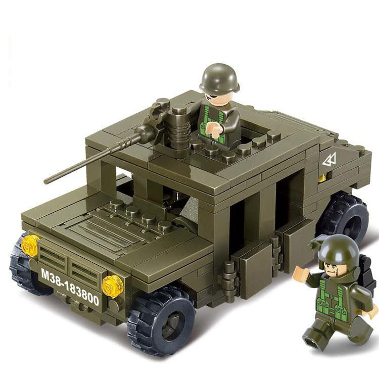 Arpa Lego Compatible Army Truck High Mobility Multipurpose Wheel Vehicle Building Blocks Bricks Educational Toys for Children(China (Mainland))