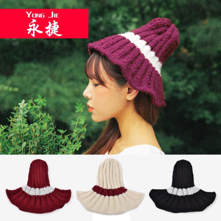 2014 NEW Bucket Hats for Women Fashion Fall Winter Peaked Knitted Beanie Hat Cap Striped Cloak Hat Free Shipping(China (Mainland))