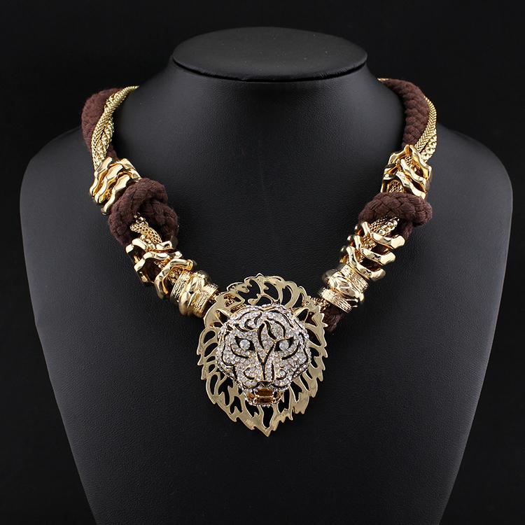 handmade jewelry boho crystal lion head necklace pendants
