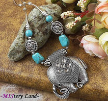 NR139 Bohemian Gypsy Tibetan Silver Elephant Turquoise Pendant vintage choker necklace chain jewelry gift