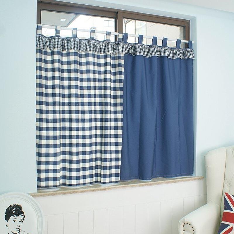 Bleu plaid rideaux promotion achetez des bleu plaid for Rideaux porte fenetre salon