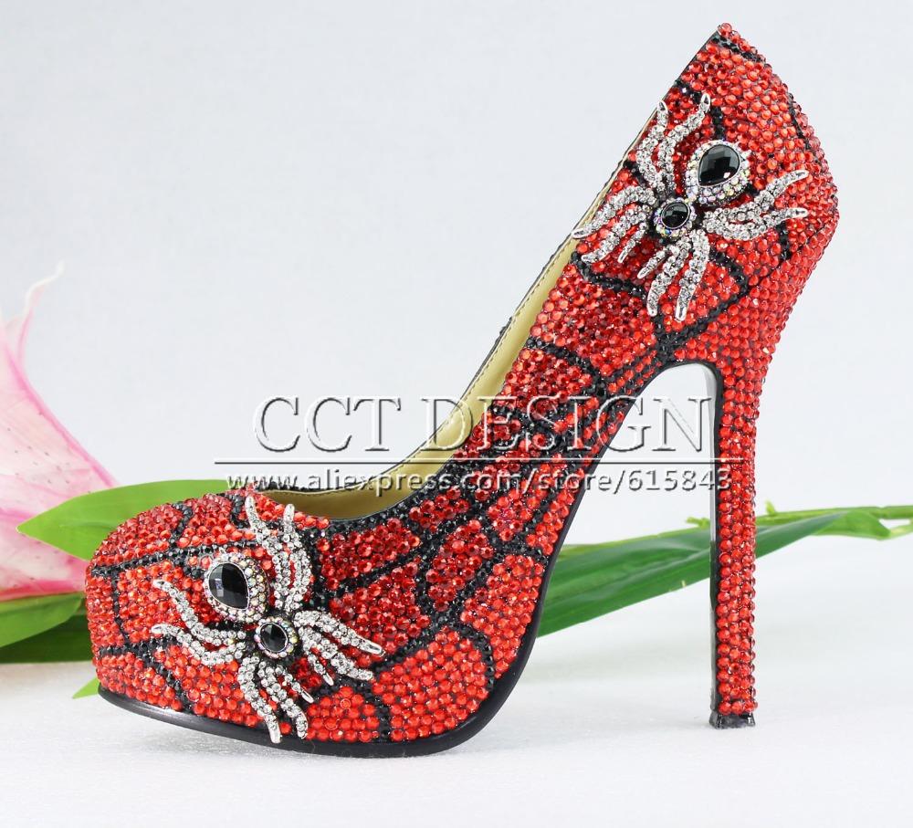 Fashion ultra High Heel red Crystal Spider Wedding Bridal shoes <br><br>Aliexpress