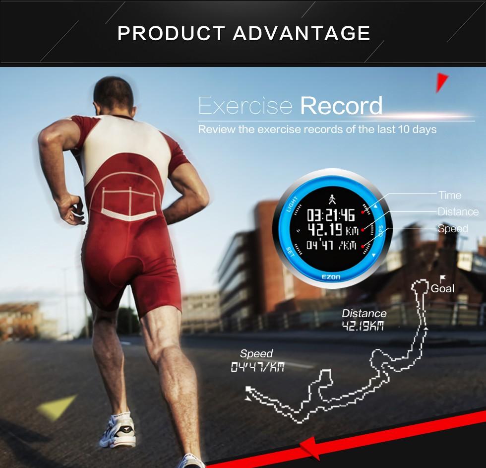 EZON открытый GPS сроки функция световой водонепроницаемый мужчины езда темп хода скорость спортивные часы электронные часы festina T031A03
