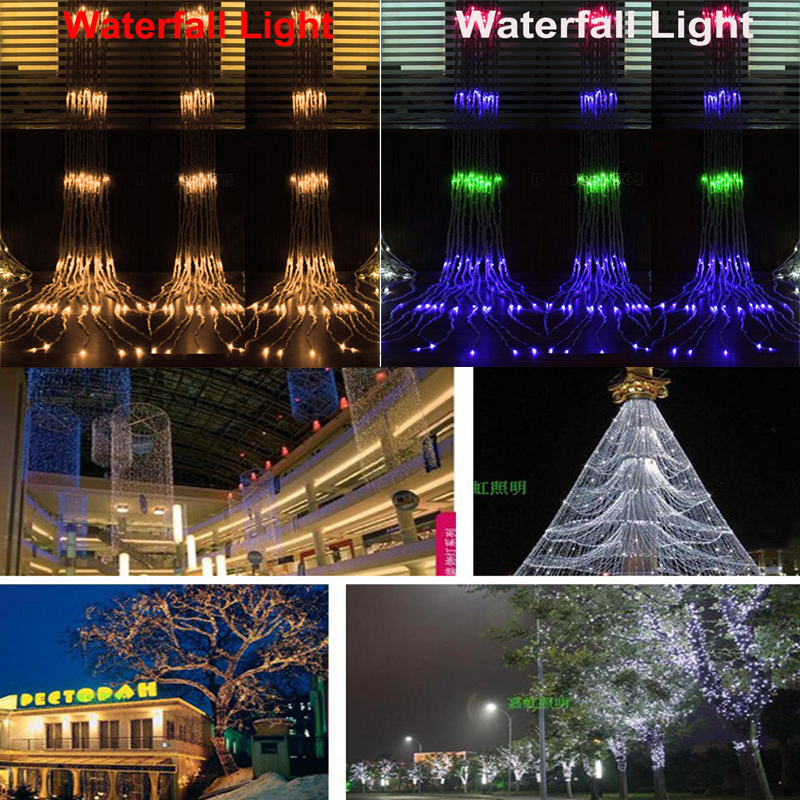 Ac220 240v net light waterfall light meshwork lamps for 160 net christmas decoration lights clear