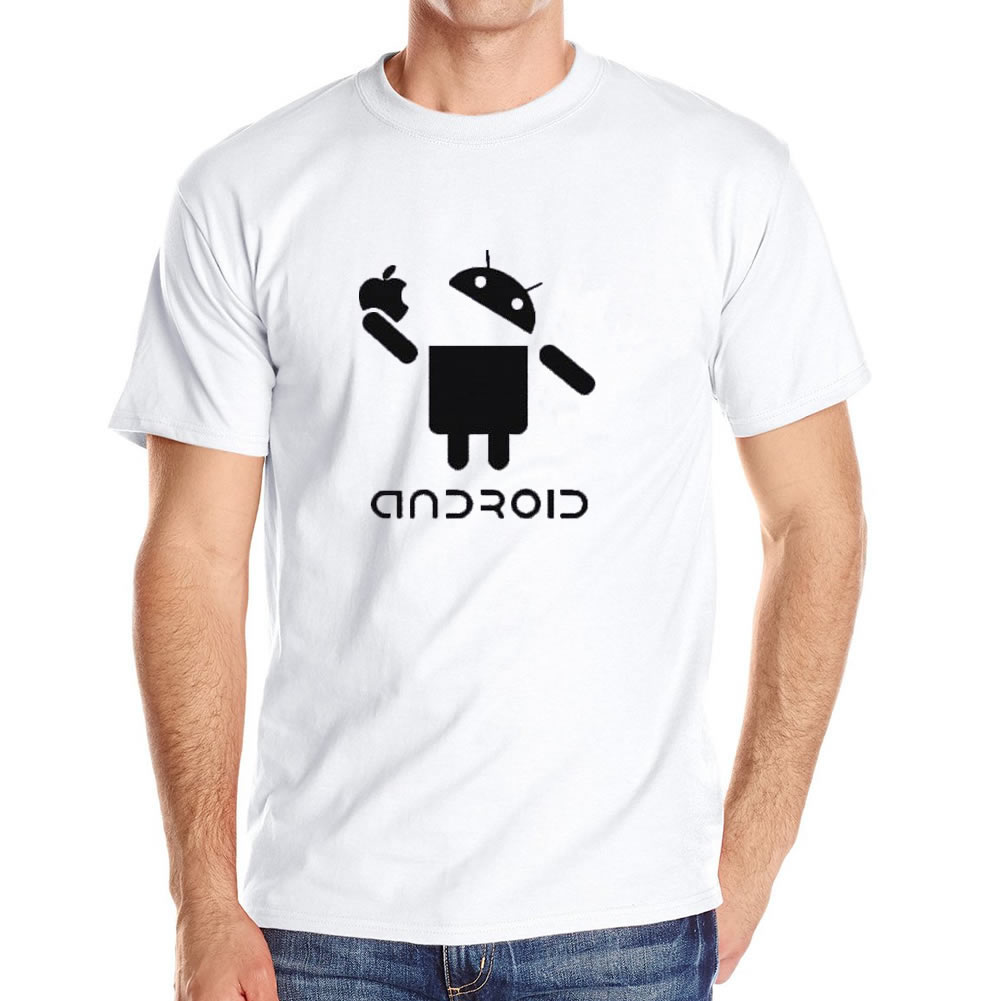 Mens T Shirts Fashion Android Robot Male T-shirt Apple Logo Printed Funny T shirt Short Sleeve O-Neck tshirt Homme Tees Shirts(China (Mainland))