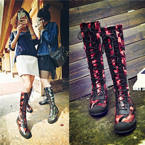 Здесь можно купить  2016 New Arrival Woman Real Leather Camouflage Knee High Boots Lace Up Real Leather Low Hee Military Motorcycle Riding Boots   Обувь
