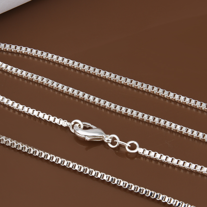 """wholesale 2MM box chain 16""""18""""20""""22""""24"""" 925 stamped silver plated Necklace Man women jewelry finding Factory price 10pcs/lot(China (Mainland))"""