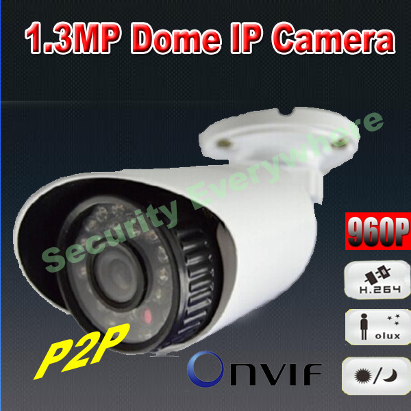 "1/4"" COMS ONVIF 960P H.264 1.3 Megapixel Mini Bullet P2P HD Cloud IR IP66 Outdoor Three Streaming IP camera(China (Mainland))"