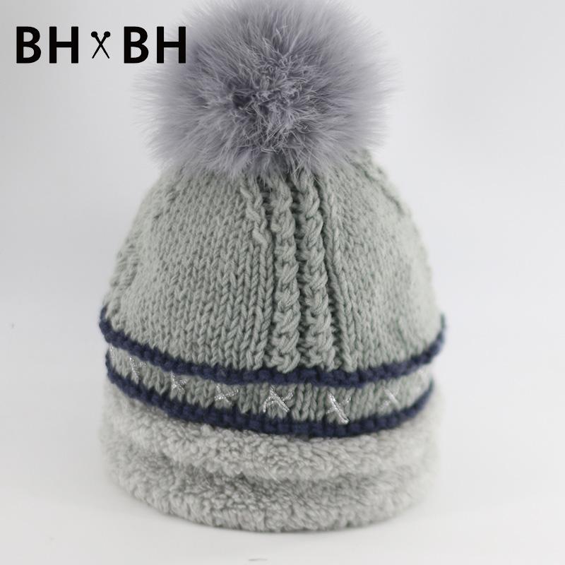 2016 New Fashion casual Unisex Knit Skullies&Beanies for men and women soft warm headwear with Fur Pom Pom chapeau BH-B2679(China (Mainland))