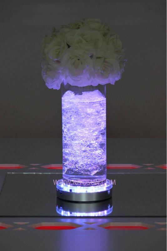 10pcs DHL free shipping! Wedding Crystal Centerpiece Decoration Remote Controlled 6inch Mulit-color Led Glass Vase Light Base(China (Mainland))