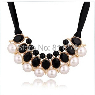 2015 New 7 Colors Factory wholesales Fashion Western statement elegant Pearls Candy Color choker Pendant Chain necklace jewelry(China (Mainland))