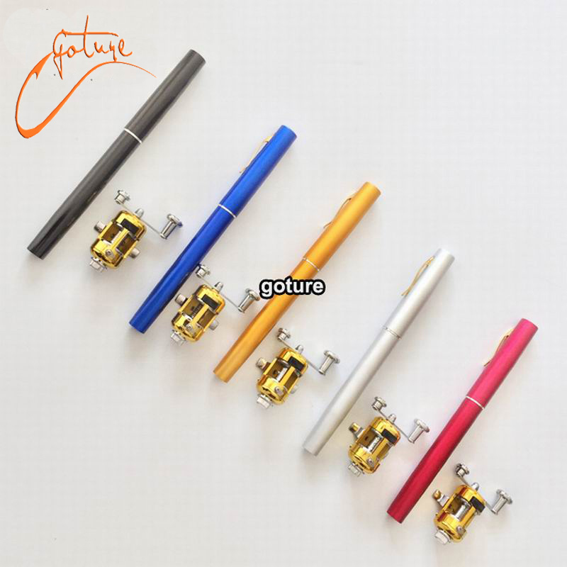 Mini pen fishing rod pen shape portable pocket aluminum for Mini pen fishing rod
