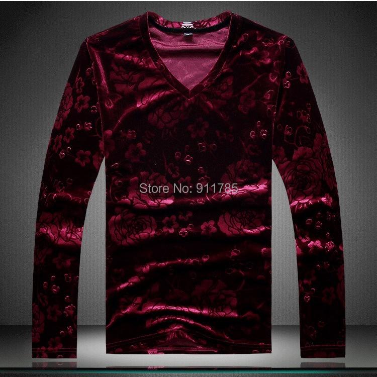 2015 new fashion autumn Unique Floral Velvet long-sleeve T-shirts men,casual slim men,M-4XL - LANG MEI'S store
