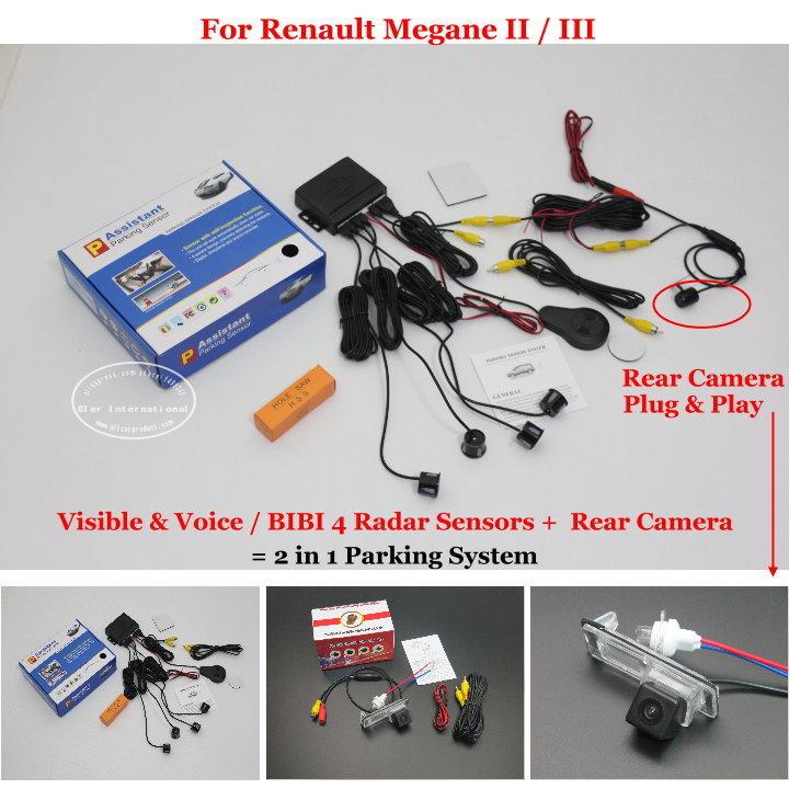 For Renault Megane 2 II / 3 III - Car Parking Sensors + Rear View Camera = 2 in 1 Visual / BIBI Alarm Parking System(China (Mainland))