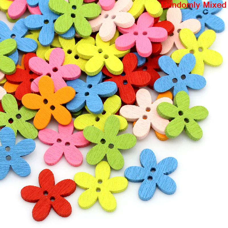"""Wood Sewing Button Scrapbooking Flower Mixed 2 Holes 14.0mm( 4/8"""")x 15.0mm( 5/8""""),20 PCs 2015 new(China (Mainland))"""
