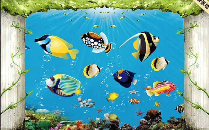 Besar mural papel de parede dunia bawah laut fantasi for Mural kartun