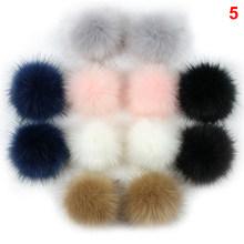 12 Pcs Adorável 8 centímetros Pompom Mulheres Saco Anel Chave Do Carro Chaveiro de Pele De Coelho Artificial Falso Fofo Bola de Pele de Raposa corrente chave(China)