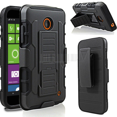 For Nokia Lumia 630 635 Black Hybrid Shockproof Protective Armor Impact Hard Cover Case Holster belt clip for lumia630 lumia 635(China (Mainland))