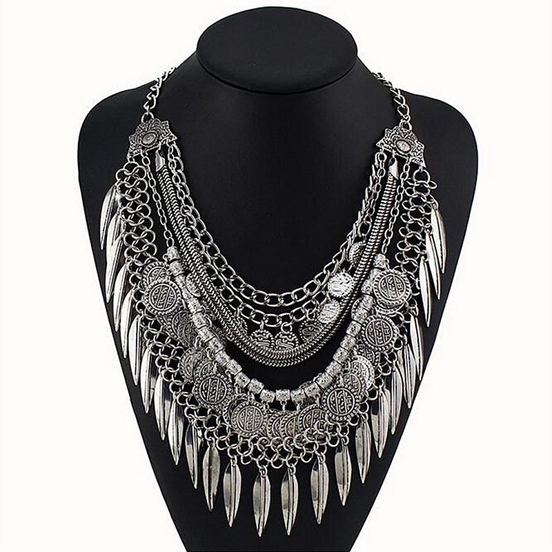 New Bohemian trendy Fringe Tassel Collar Statement Necklace Vintage Gypsy silver coin Ethnic Maxi Pendants Necklace Jewelry 4251(China (Mainland))