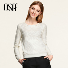 OSA 2015 New Arrivals Women Ol Style Fashion Jacquard sweaters Round Neck Solid Color Knit Pullover High Quality SE512017(China (Mainland))