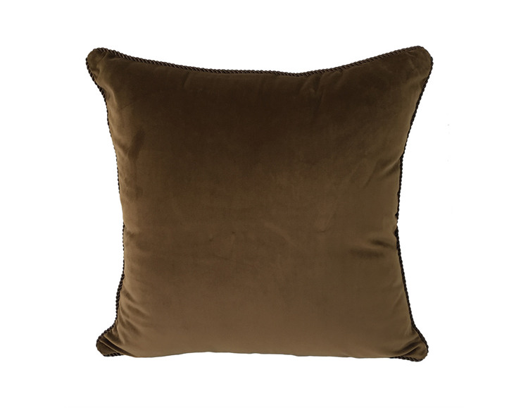 Solid Chocolate Dull Velvet Cushion Cover Rope Pipping Decorative Square  Pillow Case 45 x 45 cm Sell by piece - us722