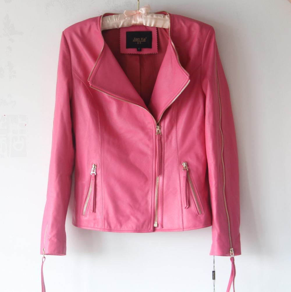 Topshop Pink Leather Jacket - JacketIn