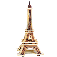 3D Wood Puzzles Cubic Wooden Puzzle World's Building Blocks Construction Kids Educational Toys Gift Eiffel Tower(China (Mainland))