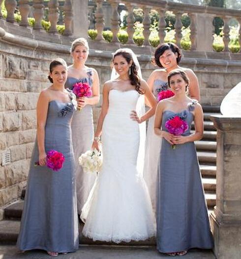 One Shoulder Silver Blue Bridesmaid Dresses Satin Floor-Length Vestido De Dama De Honra Longo Vestido De Festa Custom Size(China (Mainland))