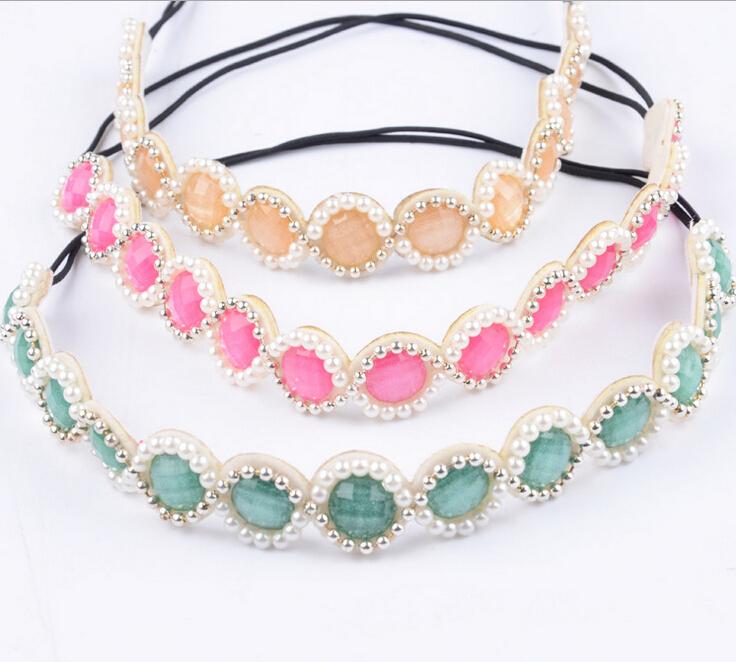 ethnic vintage bohemian colored seed beads pearl handmade flower elastic headband tribal hair accessories(China (Mainland))