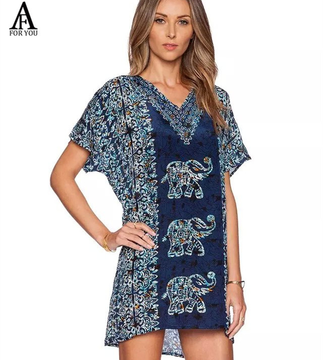 2015 Summer Style Baroque Dress Desigual Vintage Summer Dress Women Elephant Print Dresses