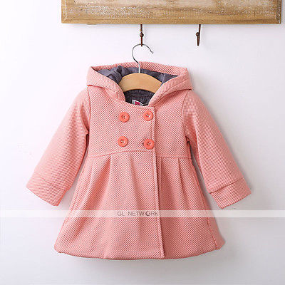 2016 New Baby Toddler Girls Fall Winter Horn Button Hooded Pea Coat Outerwear Jacket(China (Mainland))