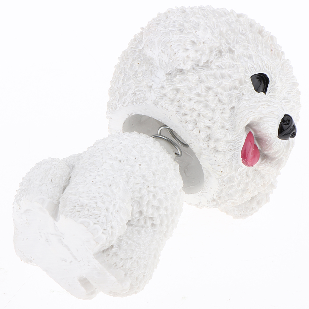 Cute Bobble Head Dogs for Cars Dashboards Auto, Mini Animal Figures, Home Office Desktop Decoration - Bichon Frise