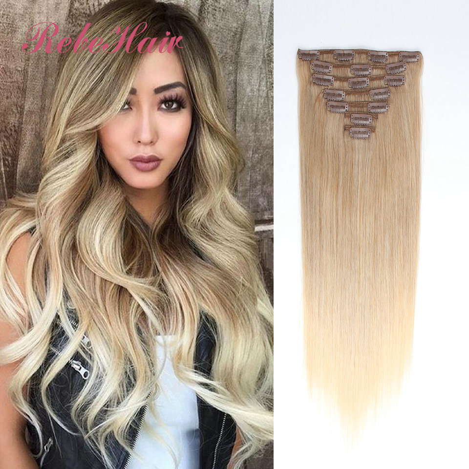 Clip In Brazilian Human Hair Extensions 130g Balayage Ombre Hair Extensions #8 Ash Brown to 60# Ash Blonde Straight Hair