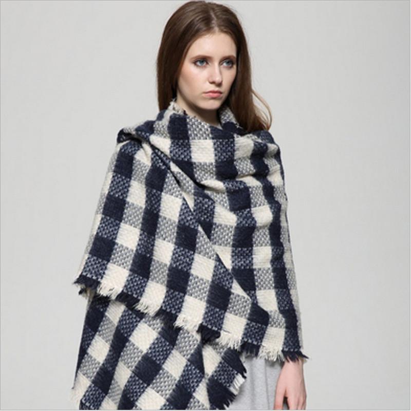 New Arrivals 2015 Scarves Wraps Trendy Lady Blanket Pashmina Cashmere Plaid Cozy Checked Tartan Scarf Fashion Women Shawl(China (Mainland))