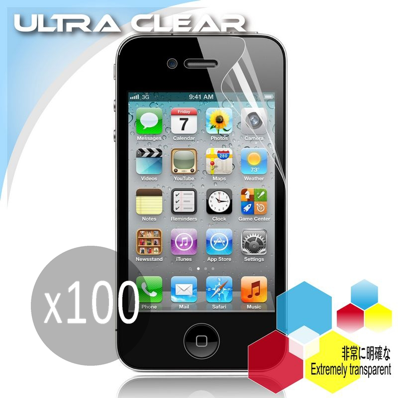 For Apple iPhone 4 4G 4S 4GS Ultra Clear screen protector ,(100 Front+100 Back)No Retail Package(China (Mainland))