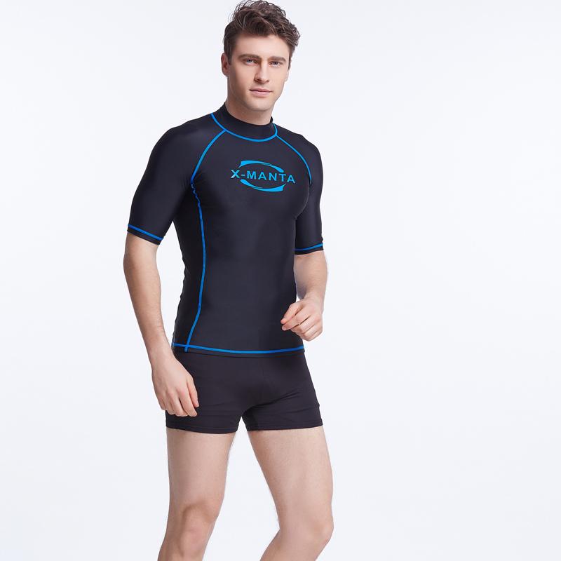 2016 New Short Sleeve Rash Guard Swimwear Men High Neck