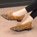 2016 Winter Warm Fur Women Flats Fashion Leopard Print Pointed Toe Rubber Sole Ladies Casual Loafers